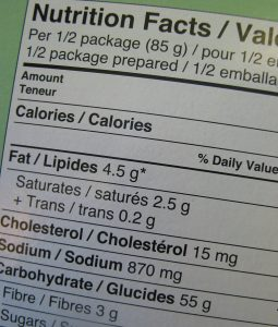close nutritional label with fat and carbohydrates